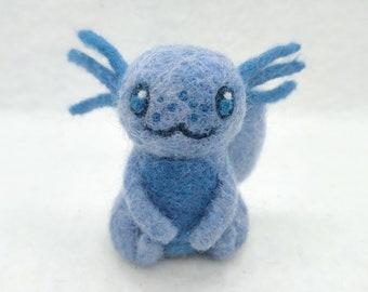 Needle Felted Blue Axolotl Figurine