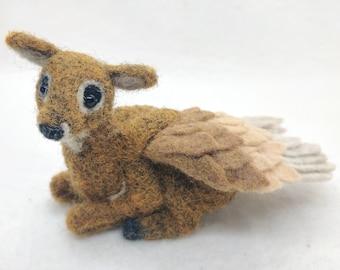Needle Felted Deer Pegasus Doe Figurine