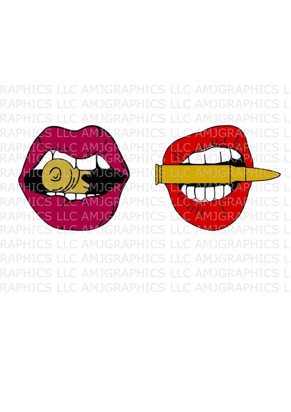 Bite The Bullet Lip Svg Digital Download Etsy