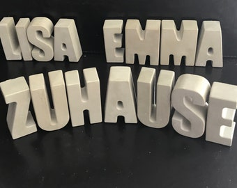 Letters made of concrete