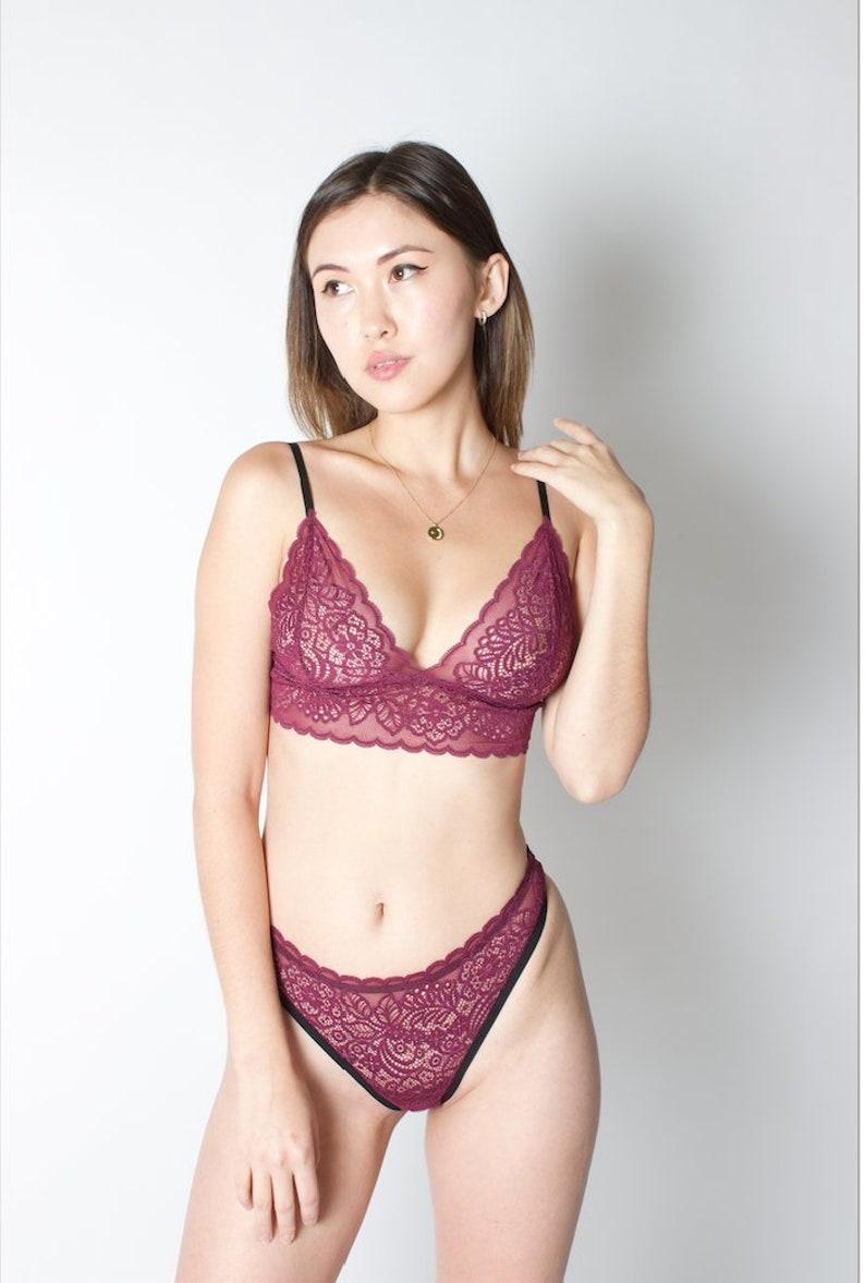 b6676de5d036 Floral Lace Set BRALETTE THONG multi colors lacy bra | Etsy
