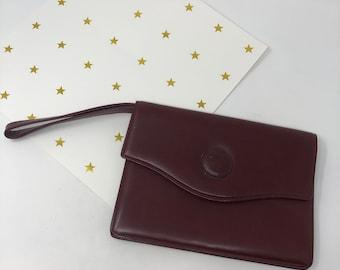 Vintage Louis Quatorze Paris Burgundy Oxblood leather envelope clutch wristlet