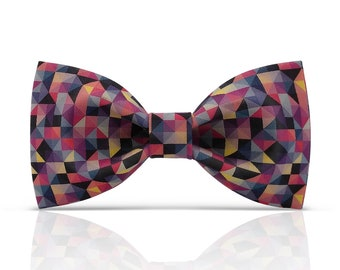 Lanzonia Stylish Print Blue Mens Bow Tie
