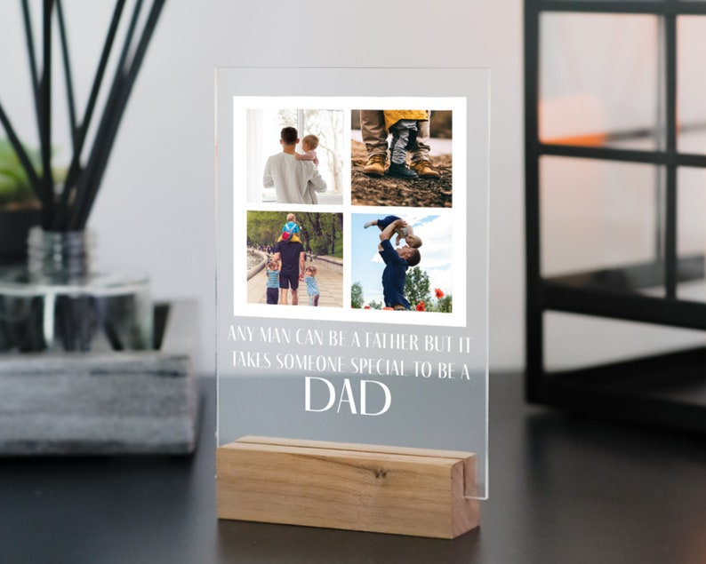 Gift for Dad  Personalised Photo Plaque with Wooden Stand  image 0