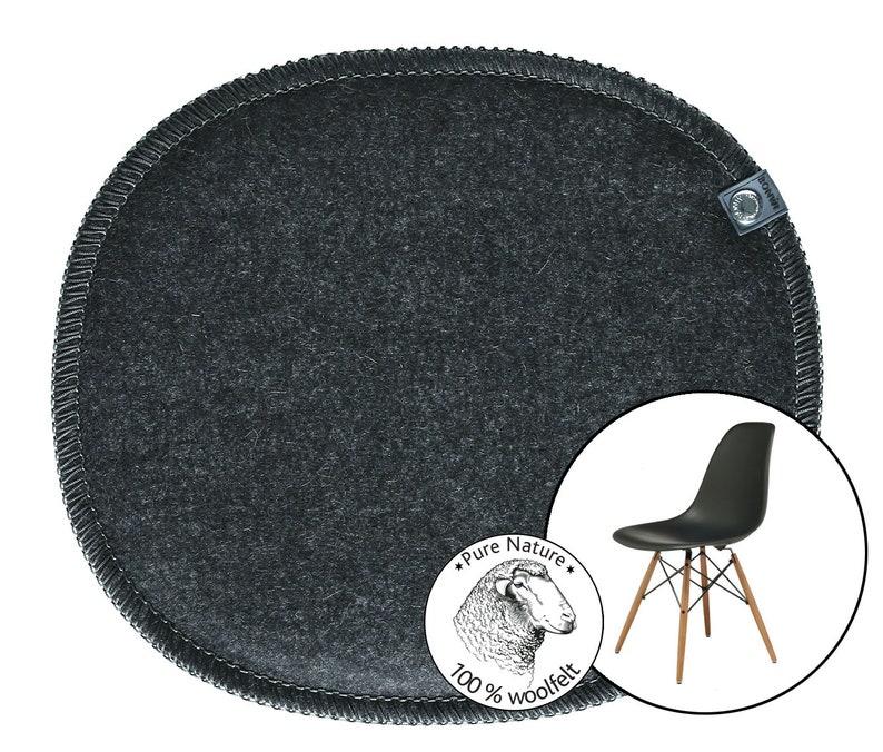 Eames Side Chair oval bean shape, felt seat cushion, felt seat pad, felt  chair cushion, oval, anthracite 100% wool felt, office, cover