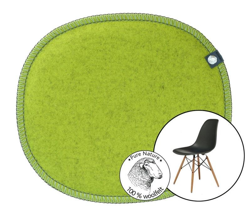 Eames Side Chair oval bean shape, felt seat cushion, felt seat pad, color:  citrus-yellow 100% wool felt , Eames chair cushion