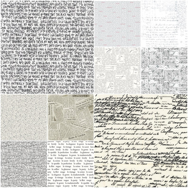 10 FQ prints with fonttext Fabric package