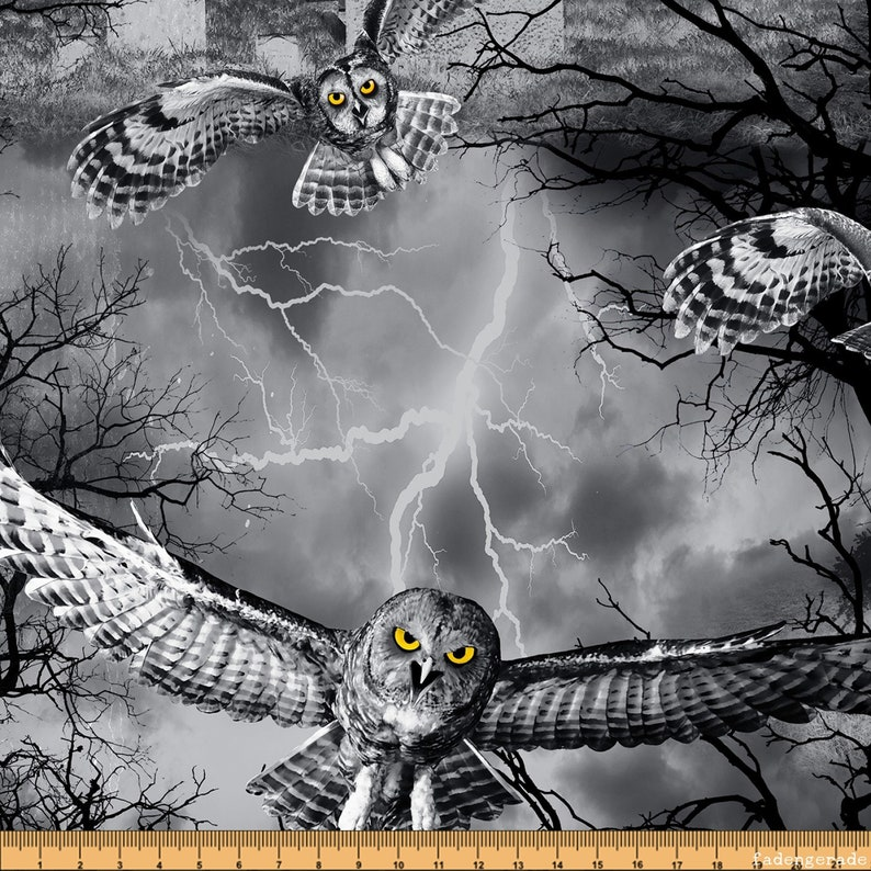 Creepy Tomb Wicked Fog by Timeless Treasures Halloween Owls in the Cemetery