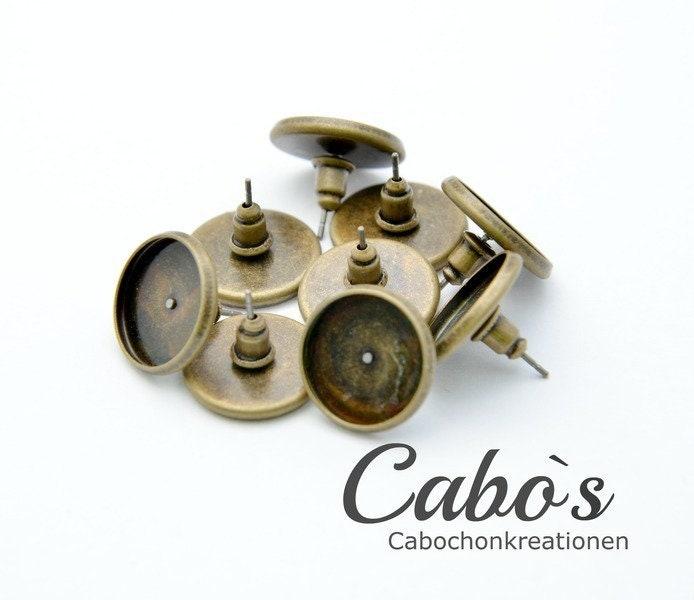 100 peaces earstud earstud earstud settings for 14mm Cabochons 7d9cff