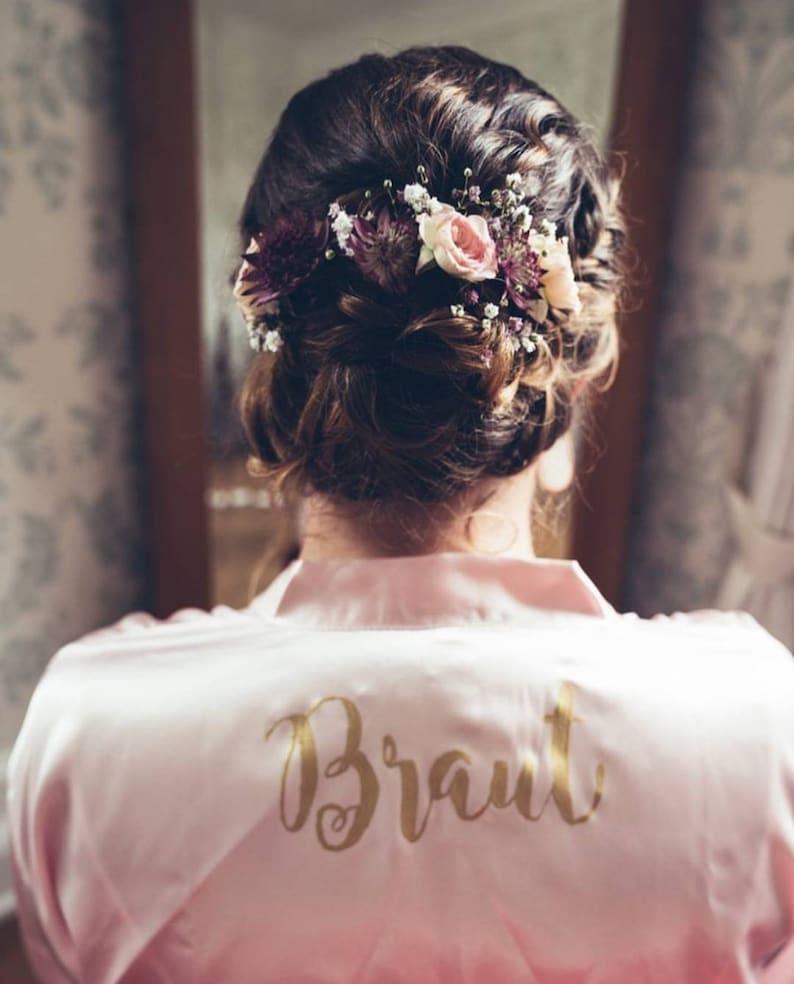 Bride bathrobe Golden Font Wedding Dress Up Kimono Get Ready Shooting Wedding Day Bride Bridegroom Wedding Accessories Bride