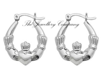 d8d8e9df5 Sterling silver Claddagh creole earrings 925 x 1 PAIR Jewellery Company