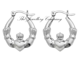 cd5f1bc36 Sterling silver Claddagh creole earrings 925 x 1 PAIR Jewellery Company
