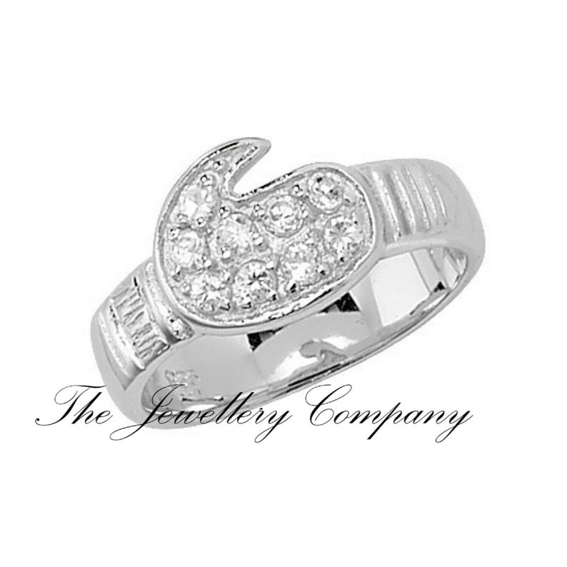 Gold plated Sterling silver childs Cz Boxing glove ring Jewellery Company