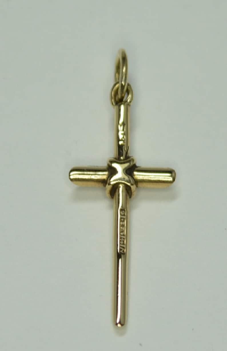 9ct Gold plain tubed cross 25mm x 12mm pendant  charm jewellery company