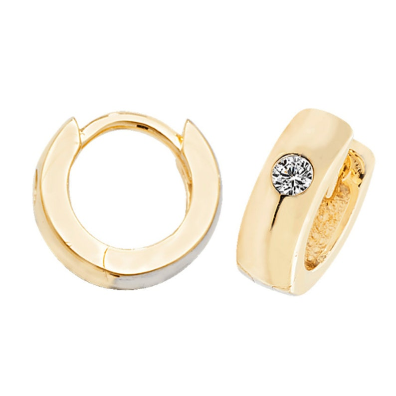 8882253a0aa80 9ct Gold hinged hoop earrings set with Cz stones 12MM x 1 Pair ER1079  Jewellery Company