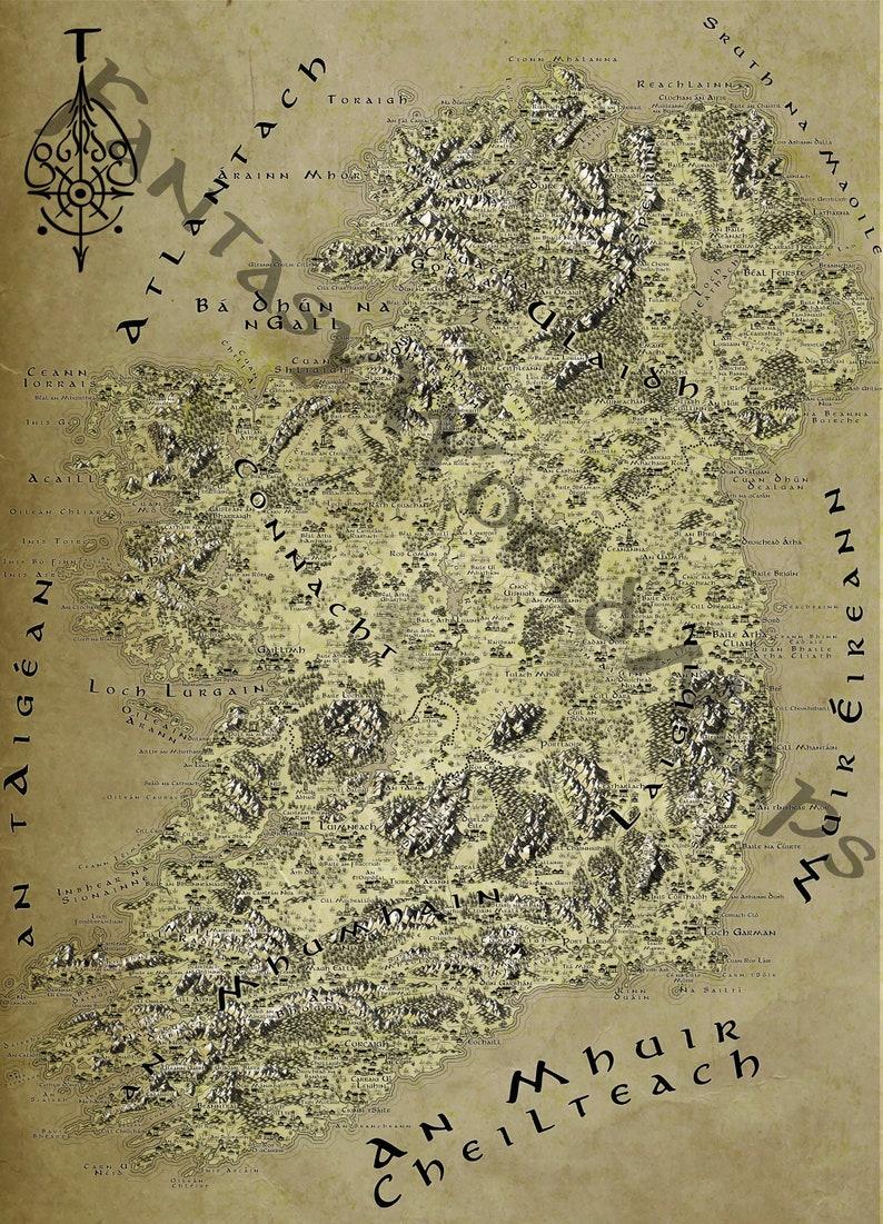 Map Of Ireland Gaeilge.Ireland Gaeilge Fantasy Tolkien Lotr Style Map Poster Etsy