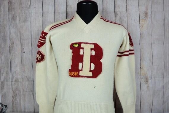 Vintage 1960s Wool Cheer Leading Varsity Sweater F