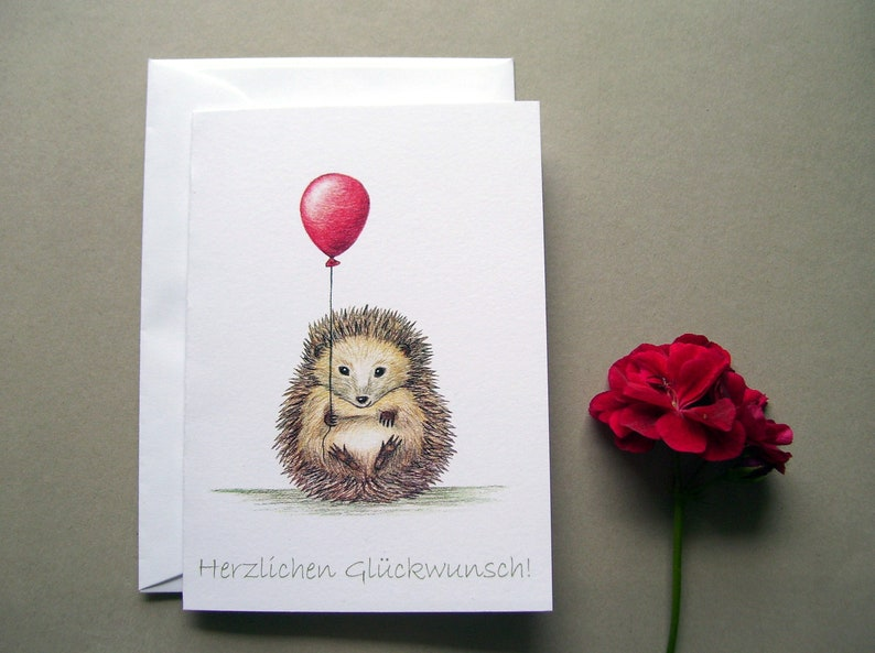 Birthday card hedgehog with balloon folding card with image 0