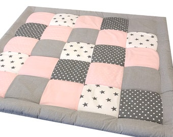 Patchwork blanket crawling blanket pink stars personalized with name
