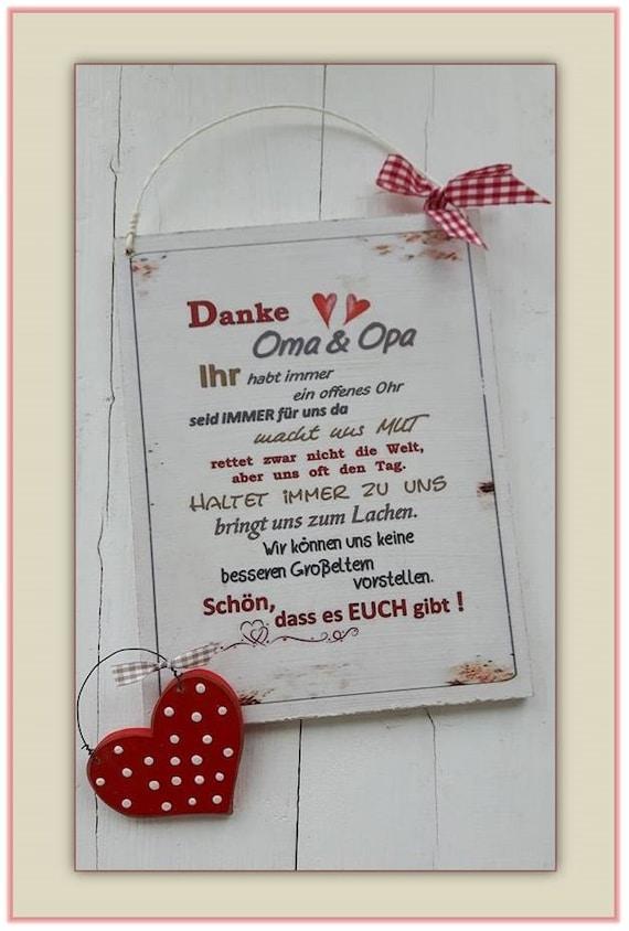 Schild Danke Oma und Opa Weihnachtsgeschenk Muttertag | Etsy