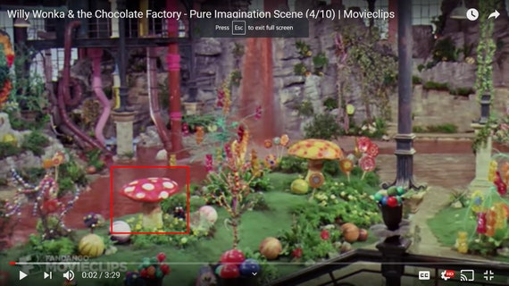 TWO Small Willy Wonka and the Chocolate Factory Edible Red Mushrooms