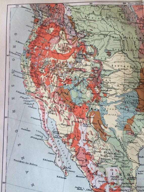 Old Geological Map United States and Mexico lithograph Original Print