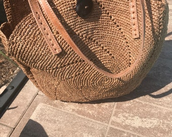 eco-friendly tote, Natural raffia bag, sustainable natural tote