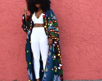 African print long duster jacket with pockets, Plus size african print long duster for women, long sleeve vest, african clothing for women