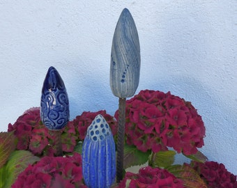 Garden ceramics/souvenirs for garden lovers/Collector's item for ceramic lovers/BEDDLER ENSEMBLE Miniature in shades of blue