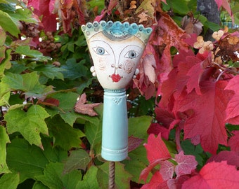 Garden ceramics/plugs/collector's item for garden and ceramic lovers/small GARDEN PRINCE B in turquoise tones