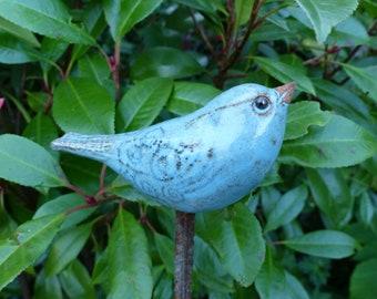 Garden ceramics/souvenir for garden lovers/ garden figure/plug-in bird/small CERAMIC BIRD turquoise