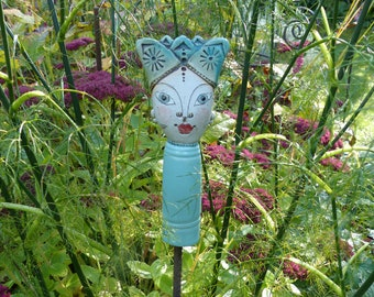 Garden ceramics/cutlery/collector's item for garden and ceramic lovers/little GARDEN PRINCE A in turquoise tones