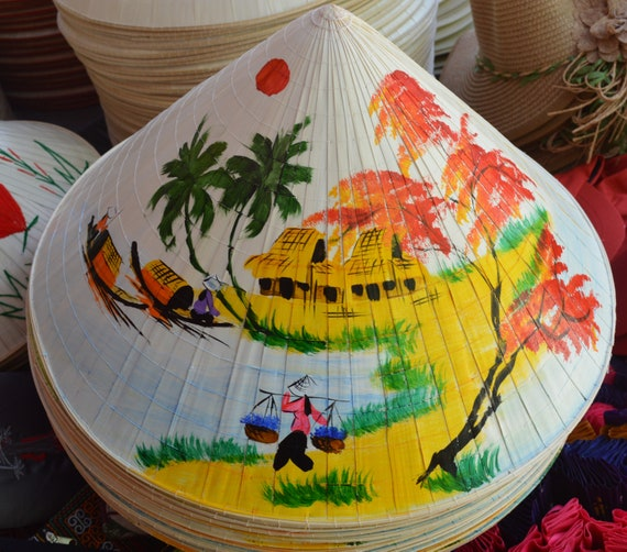 Lot of 10 small /'NON LA/'  Palm-leaf conical hat for Children Handmade Vietnam