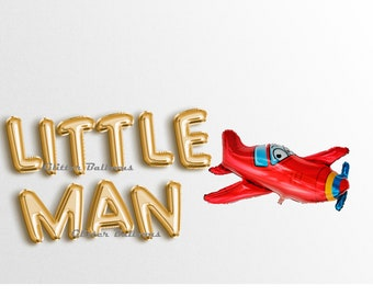 """Little MAN 16"""" Letter balloons Banner Rose Gold Silver - Birthday Banners First Birthday Baby Shower Airplain Pilot Garland Decor It's A Boy"""