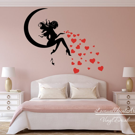 fairy moon heart shoe girl wall decal sticker vinyl art fairy | etsy