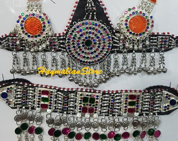 Afghan Tribal Necklace Set Traditional  Handmade Jewelry Kuchi Boho Necklace Set