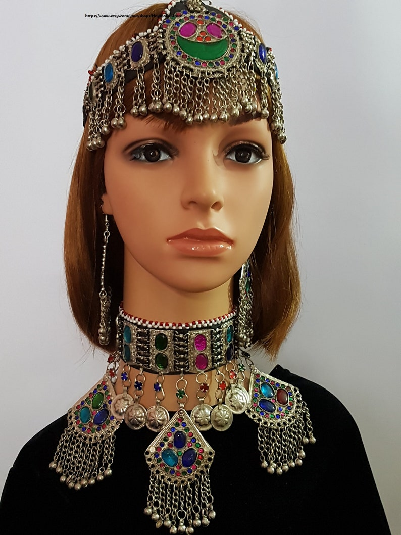 Afghan Kuchi Necklace,Tribal full Silver set with Headdress and Earrings