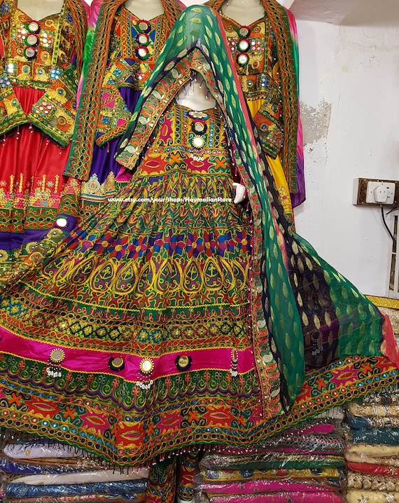 Pleasing Afghan Kuchi Tribe Multi Color Green Dress With Mirror Work From Pakistan Lamtechconsult Wood Chair Design Ideas Lamtechconsultcom