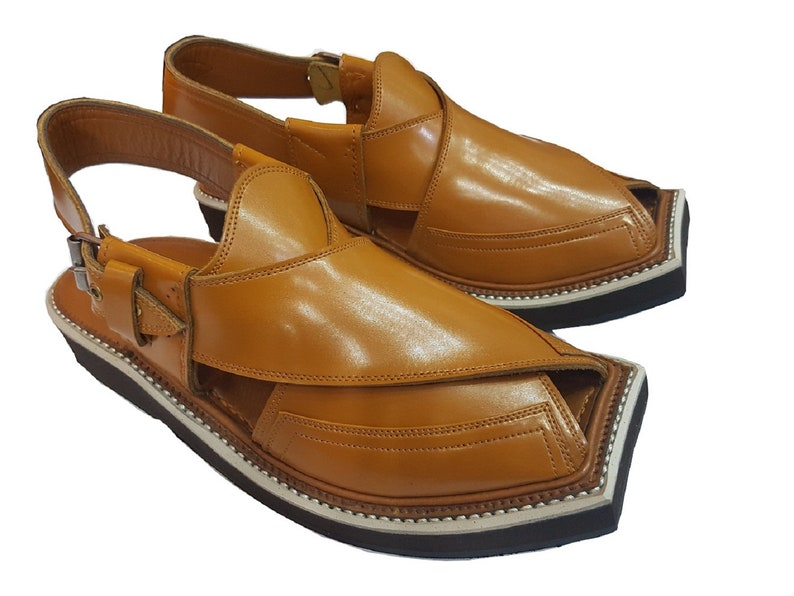 057a4032f6f7 Imran Khan Style Peshawar pure leather Golden Sandal from