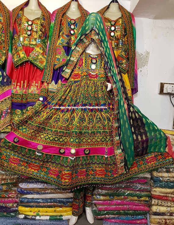 Sensational Afghan Kuchi Tribe Multi Color Green Dress With Mirror Work From Pakistan Lamtechconsult Wood Chair Design Ideas Lamtechconsultcom