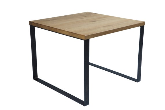 Coffee Table 60x60 Steel and Solid Oak Handmade in Bavaria  2894e110599d
