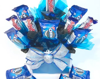 Mens Snack Bouquet Care Package For Him Son College Student Just Because Birthday Mouthwatering Candy Surprise Edible Gift