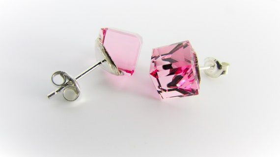 Minimalist Jewellery Pink Cube Stud Earrings