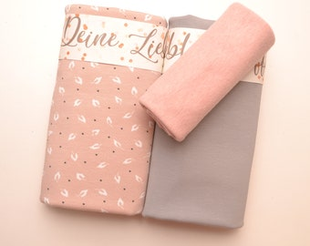 Fabric pack Jersey +free sewing pattern, leaves nude natural grey, 2 jersey fabrics + cuffs