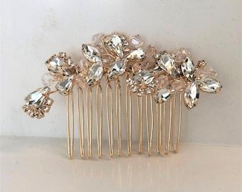 Classic gold or silver or rose gold rhinestone hair comb   Wedding hair comb   Bridal Hair Comb   Bridal Headpiece   Rhinestone   Accessorie