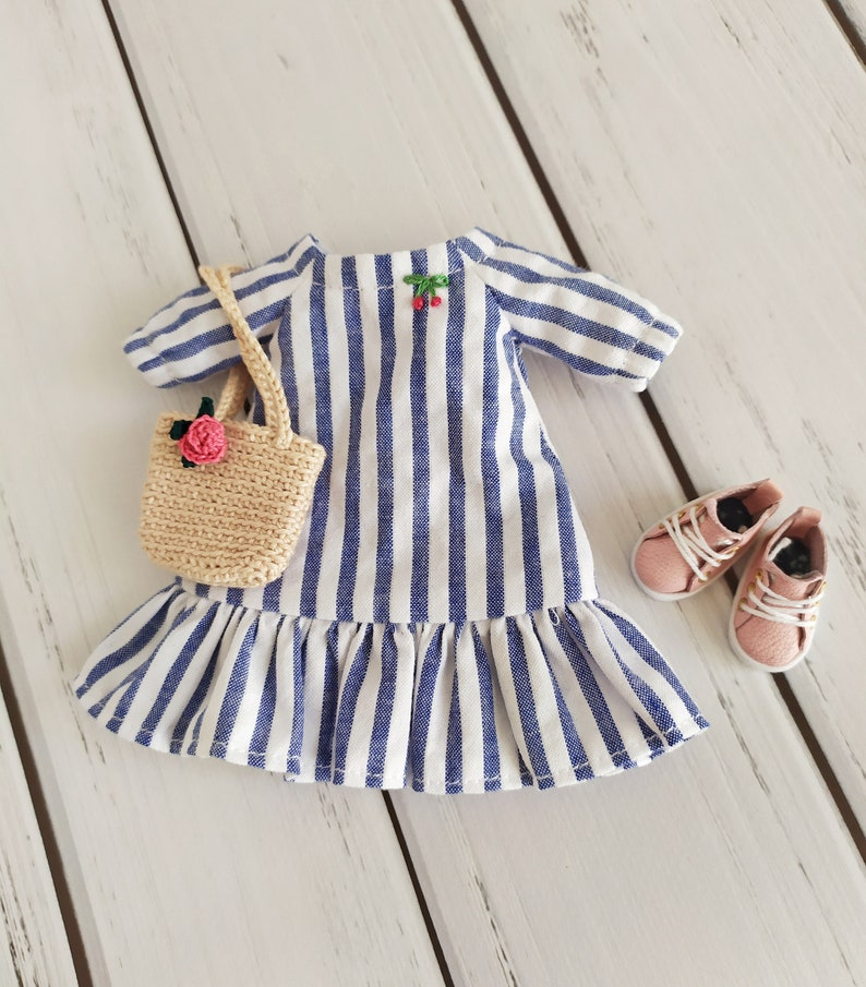 Summer striped white blue cotton dress for Blythe doll boots for Blythe crochet bag for Blythe doll