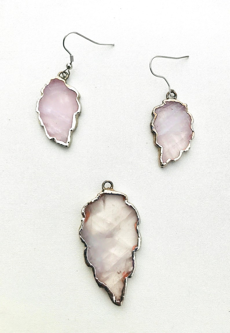 Rose Quartz Large Crystal Gemstone PendantNecklace And Earrings Set Natural Rose Quartz Agate Stone Silver Jewellery
