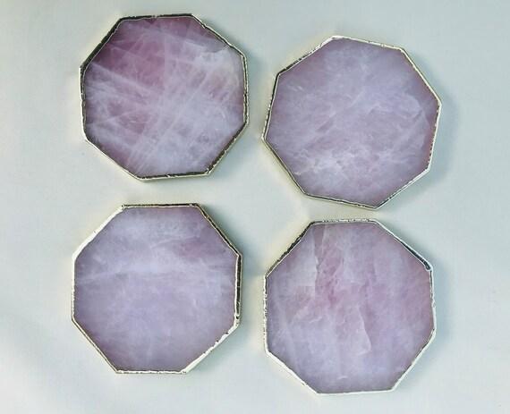 Set of 4 Large CoastersPersonalised Momentos Rose Quartz Agate