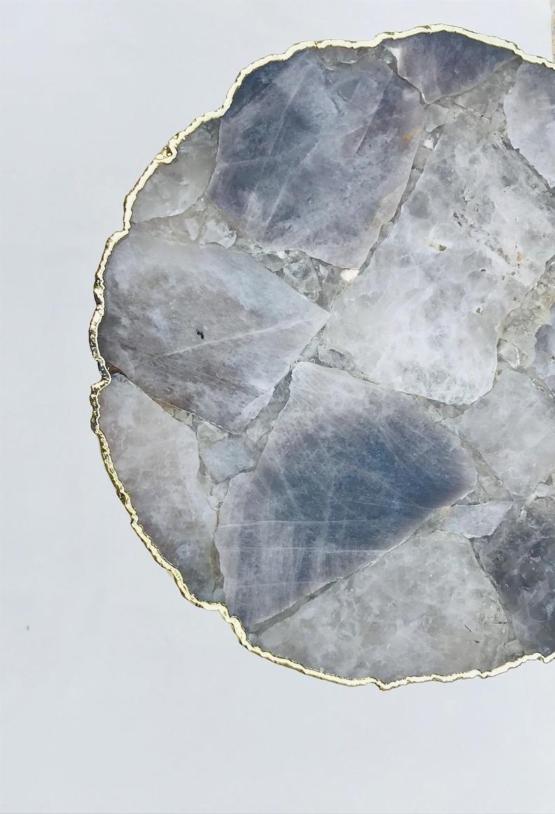 Smoky Grey Agate Organic Edge SideCoffee Table