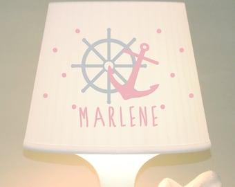 "Table lamp children's lamp ""Control wheel, anchor + name"" customizable"